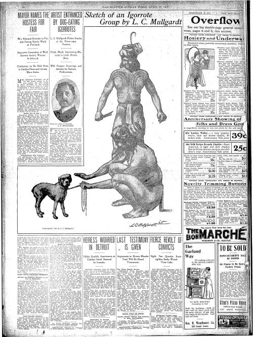 Sketch of two Igorrote men and a dog from the Seattle Sunday Times, April 30, 1905